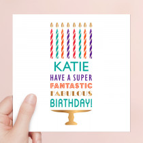 Personalised Happy Birthday Candles - Luxury Fabric Card
