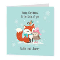 Christmas Fox And Owl Non Photo - Luxury Greeting Card