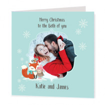 Christmas Fox And Owl Photo Upload - Luxury Greeting Card