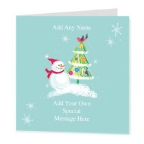 Christmas Snowman & Tree Non Photo - Luxury Greeting Card