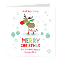 Christmas Skating Reindeer Non Photo  - Luxury Greeting Card