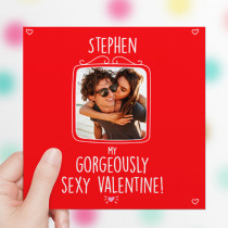 Personalised Gorgeously Sexy Valentine Photo Card - Luxury Fabric Card