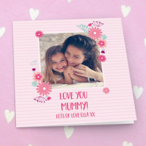 Personalised Pink Floral Frame Luxury Fabric Photo Card