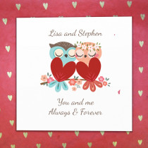 Personalised Love Owls Card - Luxury Fabric Card