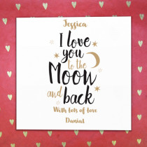 Personalised I Love You To The Moon And Back Card - Luxury Fabric Card