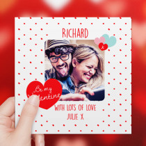 Personalised Be My Valentine Photo Card - Luxury Fabric Card