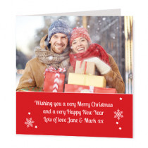 Christmas Red Text Banner Photo Upload  - Luxury Greeting Card