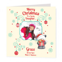 Christmas Present Bear Daughter Photo Upload  - Luxury Greeting Card