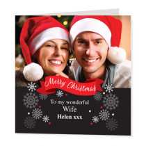 Christmas Black Red Banner Photo Upload  - Luxury Greeting Card