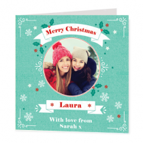 Christmas Teal Banners With Photo Upload  - Luxury Greeting Card