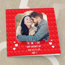 Personalised One I Love Photo Card - Luxury Fabric Card