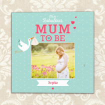 Personalised Mum To Be Luxury Fabric Photo Card