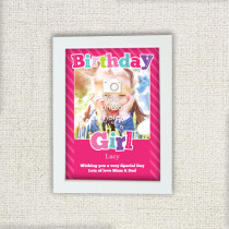 Personalised Pink Birthday Girl Photo Frame