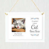 Sentimental Spoilt Cat Lives Here - Personalised Photo Frame