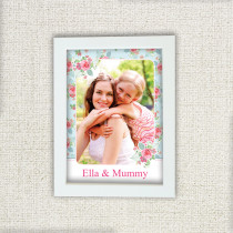 Personalised Pink And Teal Rose Pattern Photo Frame