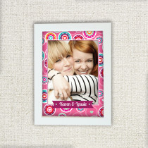 Personalised Bright Pink Floral Pattern Photo Frame