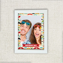 Moustache Pattern - Personalised Photo Frame