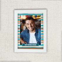 Orange Blue Stripe Pattern - Personalised Photo Frame