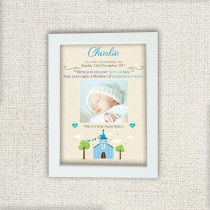 Blue Church With Photo Upload - Personalised Photo Frame