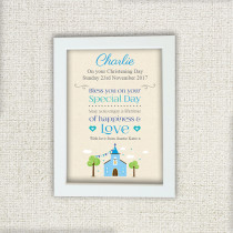 Blue Church - Personalised Photo Frame