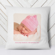 Personalised Pink Text Photo Cushion