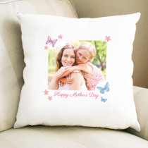 Personalised Floral Butterfly Design Photo Cushion