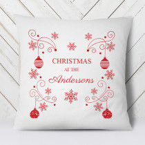 Personalised Christmas Bauble Family - Cushion