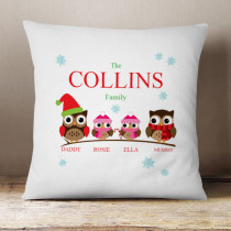Personalised Owl Family Two Girls - Cushion