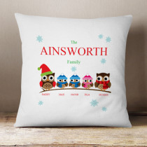 Personalised Owl Family Two Boys One Girl - Cushion