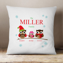 Personalised Owl Family One Girl - Cushion