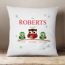 Personalised Owl Single Two Children - Cushion