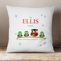 Personalised Owl Single Three Children - Cushion