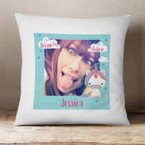 Personalised Dream Believe Unicorn Cushion With Photo Upload
