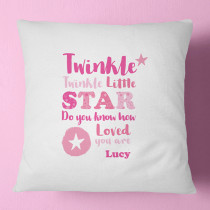 Personalised Pink Twinkle Twinkle Cushion