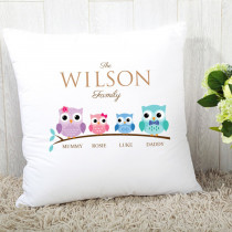 Personalised Family Owls Girl And Boy Cushion