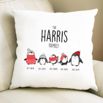 Christmas Penguin Three Children - Cushion