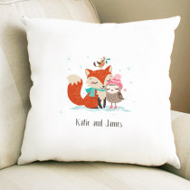 Christmas Fox And Owl Non Photo  - Cushion