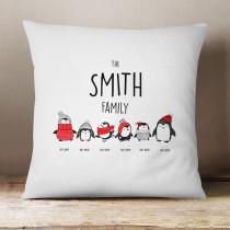 Christmas Penguin Four Children - Cushion
