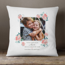 Personalised Mum You Are The World Photo Cushion