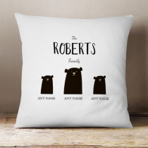Personalised Bear Family Single Two Children Cushion