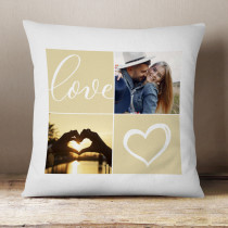 Personalised Four Photos Love Cushion With Optional Text