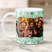 Personalised Green Christmas Trees with Photo Upload - Mug