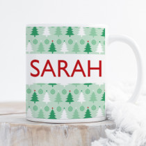 Personalised Green Christmas Trees with Big Name - Mug