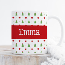 Personalised Star on the Christmas Tree with Big Name - Mug