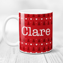 Personalised Red Christmas Trees with Big Name - Mug