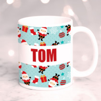 Personalised Tumbling Santa with Big Name - Mug
