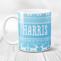 Personalised Christmas Jumper Pattern with Big Name - Mug