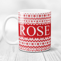 Personalised Red Christmas Pattern with Big Name - Mug