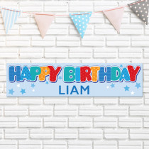 Personalised Blue Birthday Banner