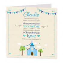 Blue Church - Luxury Greeting Card